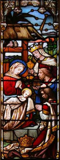 One of the panes of the stained glass window behind altar: The Nativity